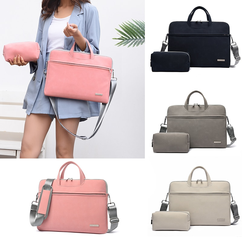 2021 PU Leather Women Laptop Bags Notebook Carrying Case Briefcase For Macbook Air 13.3 14 15.6 Inch Handbags Shoulder Mouse Bag