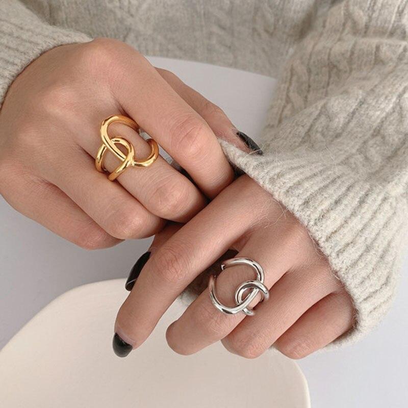 Vintage ouro prata cor metal duplo bloqueio círculo corda cruz anéis para mulheres fahion aberto manguito gótico anel minimalista jóias