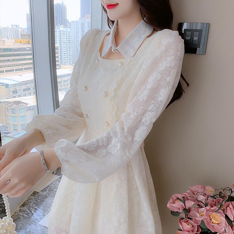 Bonito vestido de manga larga para mujer de coogarsam, vestidos de cintura alta 3660