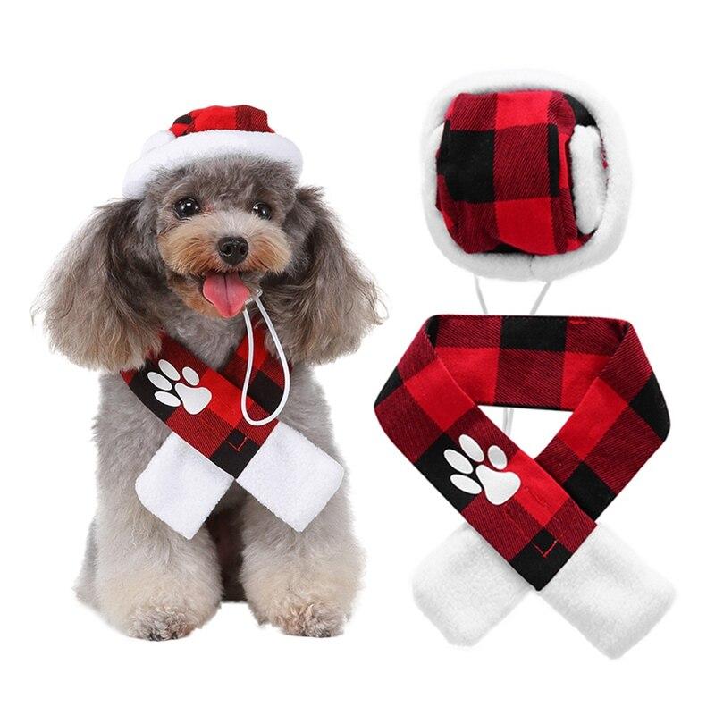 Accesorios de mascota perro lindo conjunto de bufanda y sombrero a cuadros para perro pequeño cachorro mascota perro gato fiesta de Navidad disfraz