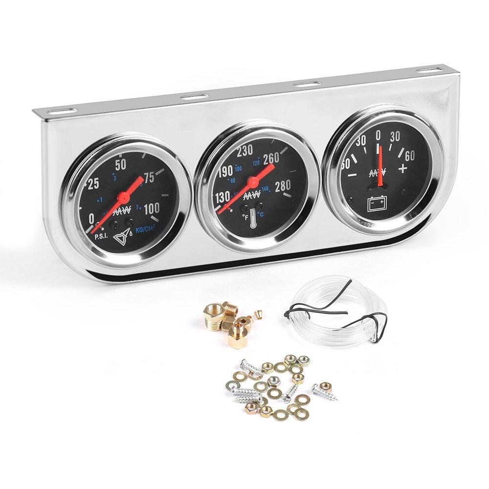 Panel cromado de 2 pulgadas presión de aceite agua Temp Amp Meter Triple Auto Gauge Set con cara blanca TT101324