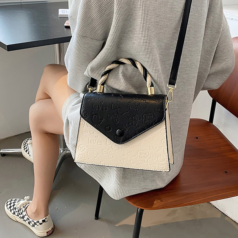 Small Square Shoulder Bags for Women Panelled Crossbody Bags Ladies Cute Printted Messenger Bag Simple Wild Top-handle Handbags