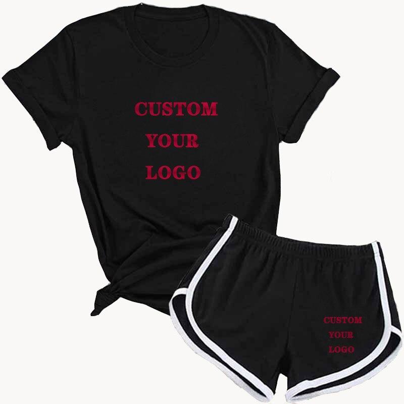 Женский спортивный костюм, летний модный комплект из футболки и шортов, Женский комплект из 2 предметов, велосипедные спортивные шорты для б...