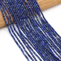 new small beads natural crystal faceted lapis lazuli stone strand beads for women jewelry making bracelet necklace size 3x2mm