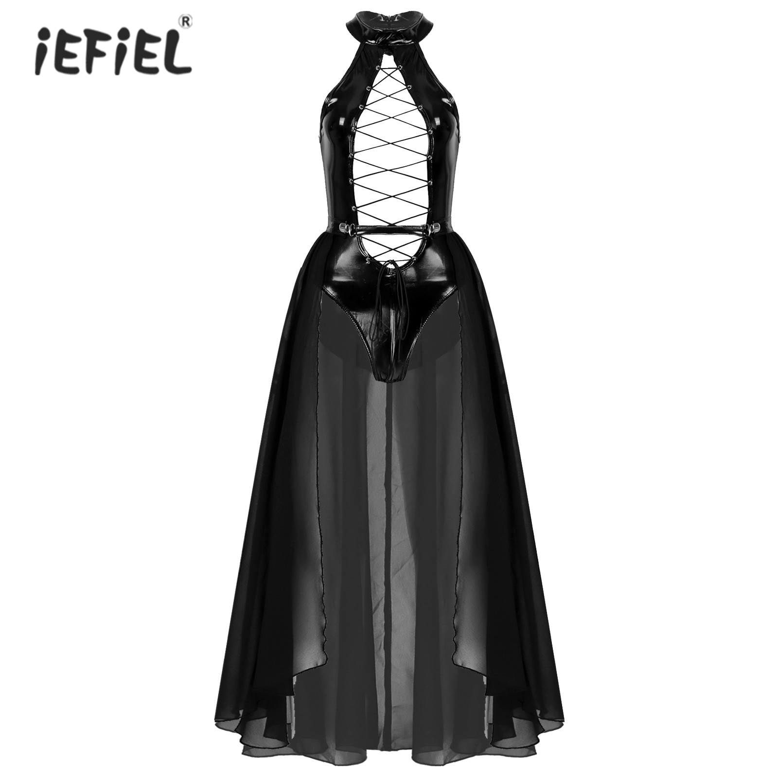 Womens Pole Dace Rave Party Outfits Wet Look Patent Leather Hollow Out Lace-up Bodysuit Mock Neck Sleeveless Leotard with Skirt