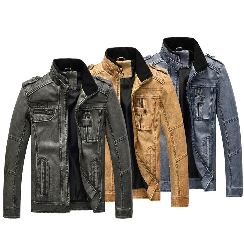 2020 Spring autumn thin men leather jacket stand collar washed pu leather jacket European code large size motorcycle male coat