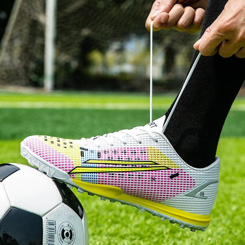 Новое поступление, Мужская обувь для футбола Turf, дышащая Нескользящая спортивная обувь для футбола, Женская Осенняя профессиональная обувь...