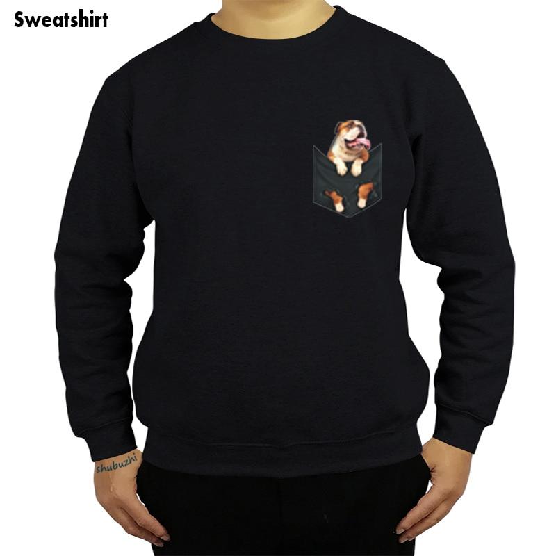 English Bulldog Inside Pocket hoody Dog Lovers Black Cotton Men Cartoon sweatshirt men Unisex Fashion sweatshirt sbz8086