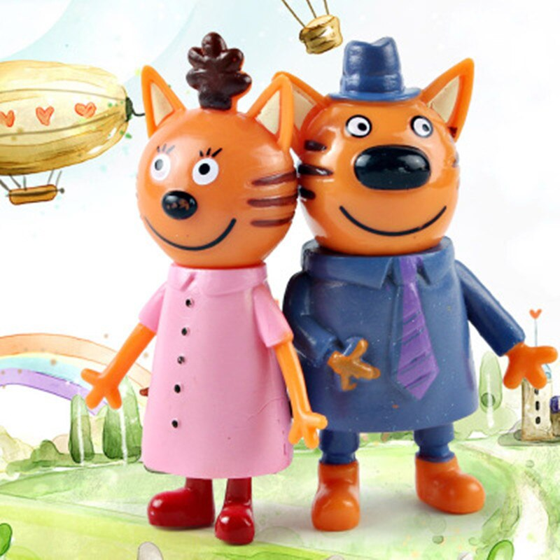 2019 5pcs Russian Three Happy Cats Kitten Action Figures Doll Russian Cat Animal