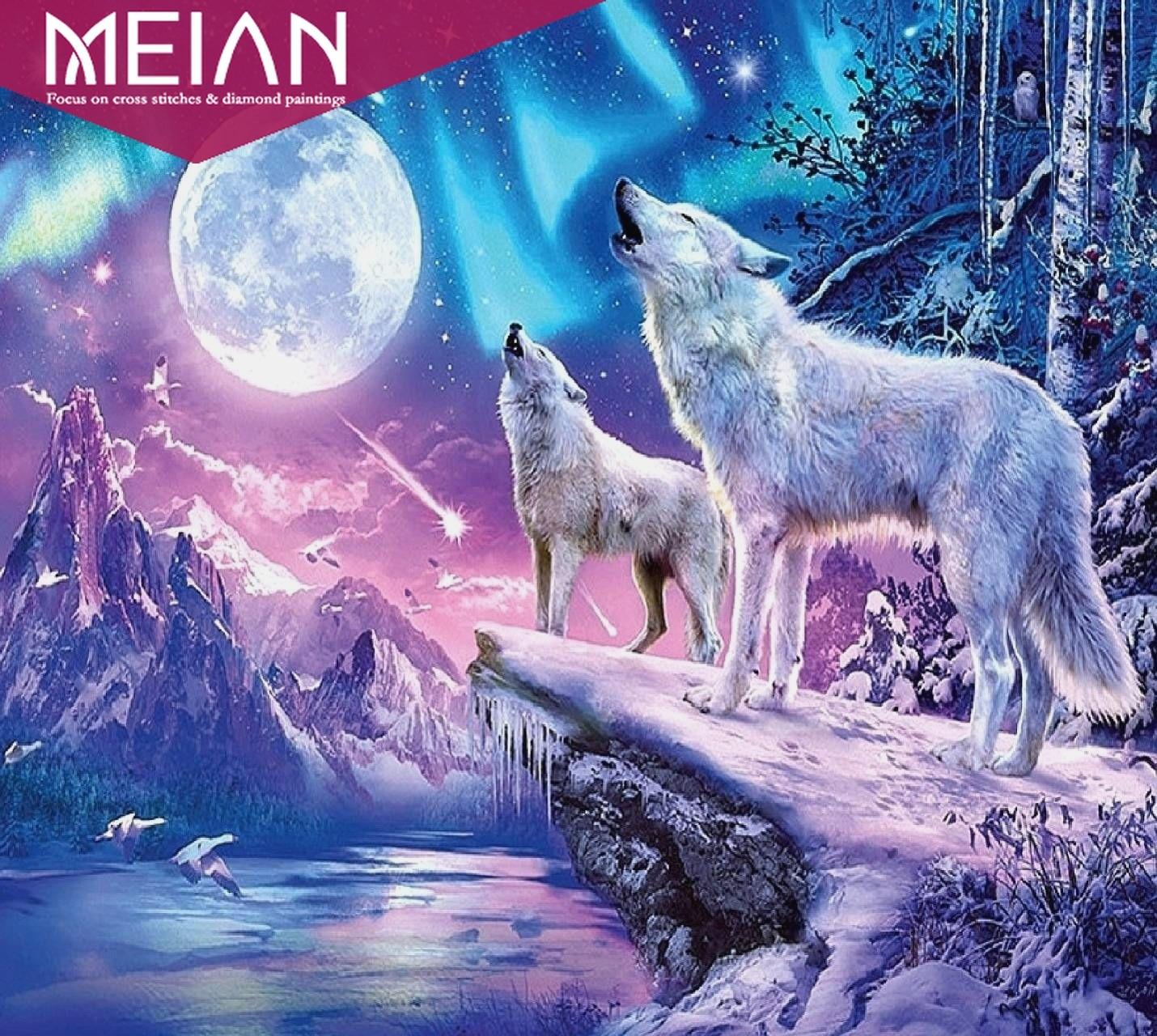MEIAN Moon & Wolf 5D DIY diamond painting Full round Diamond  cross stitch kits art High Quality Animal  paint by diamonds