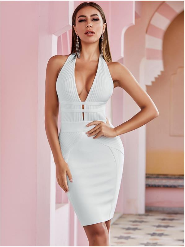 Sexy White Cocktail Dress for Women Halter Backless Bandage Dress Short Evening Party Gowns robes de cocktail 2021