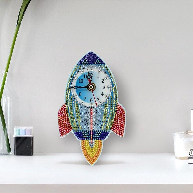 Moda 5D reloj de pintura de diamantes DIY cohete mosaico de diamantes bordado punto de cruz brillante cuentas redondas decoración de pared ZB09