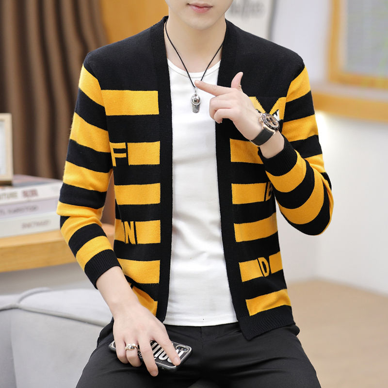 2021 The new listing spring autumn men's windbreaker short Korean style trendy knitted cardigan striped thin cloak Free shipping