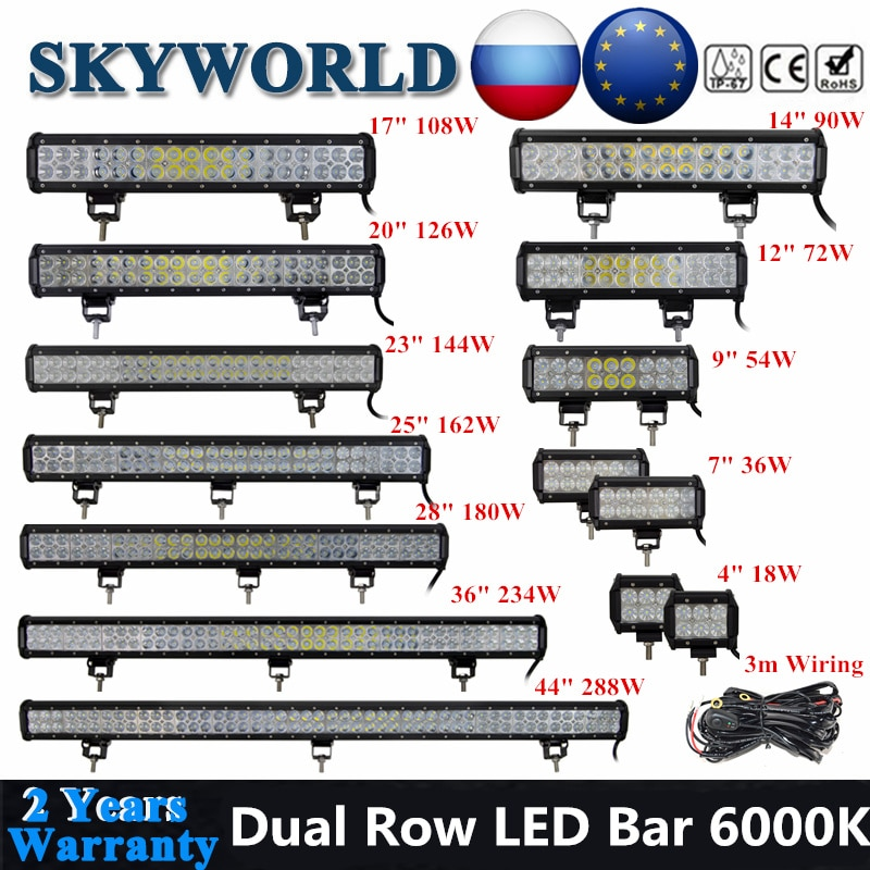 SKYWORLD LED Bar Offroad 4 7 12 17 20 25 28 36 44 zoll Fahren LED Arbeit Licht Bar Für auto UAZ Lkw 4X4 SUV ATV 126 288W 12V 24V