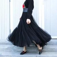 tulle skirts women pleated mesh 3layers princess tutu skirts sweet bridesmaids midi elastic high waist skirt