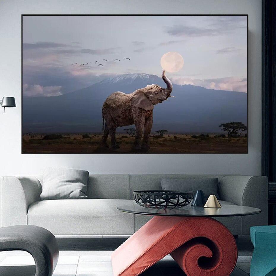 Divertido elefante pequeño con sol moderno lienzo pintura Animal para decoración de paredes fotos cartel nórdico e impresiones para decoración del hogar de la habitación de los niños