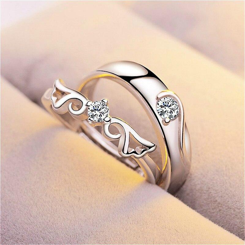 1 conjunto vender ajustável amantes zircon anéis de noivado para as mulheres moda prata cor anéis de casamento anéis de cristais austríacos
