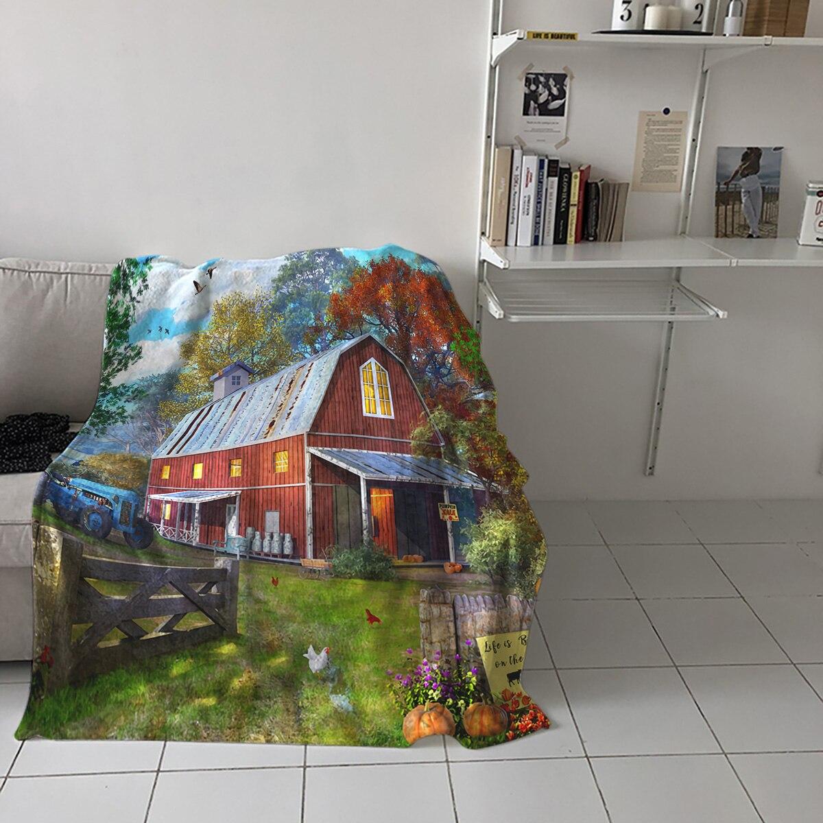المنزل لينة البطانيات مزرعة الحظيرة وودز الدجاج الكبار الأطفال غرفة نوم أريكة تتحول لسرير رمي البطانيات مكتب دافئ تكييف الهواء لحاف
