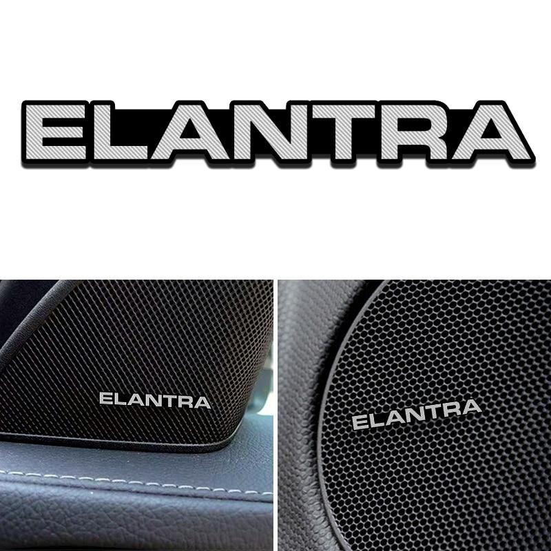 4 pçs novo apto para hyundai elantra tucson solaris i30 creta 2014-2019 liga de alumínio adesivo carro estéreo adesivos acessórios do carro