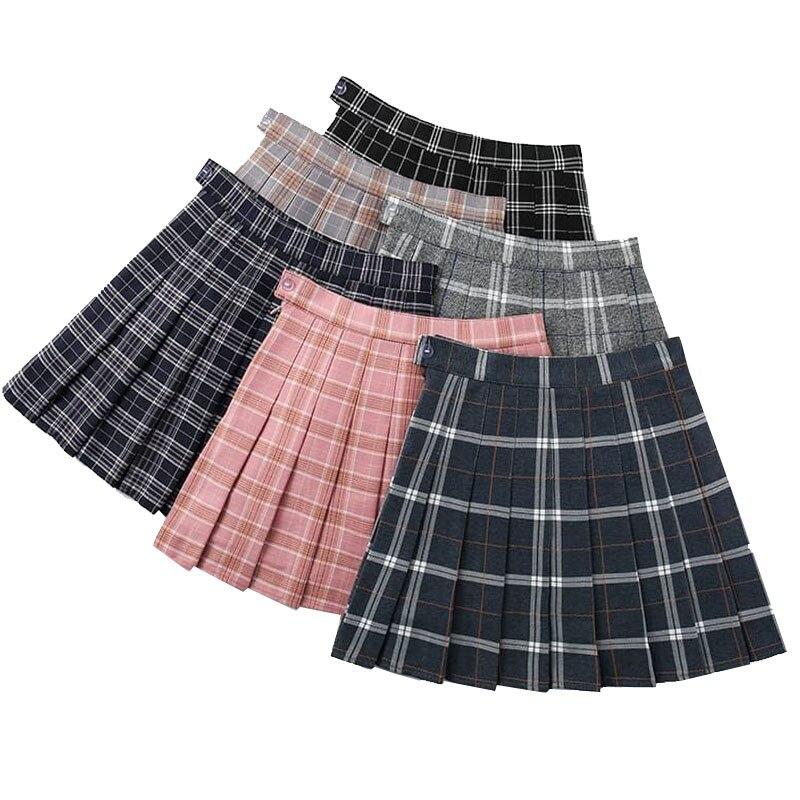Summer Women's Skirt High Waist A-Line Female Plaid Pleated Skirts Harajuku Summer Womens Girls Dance Mini Skirts Black Skirt