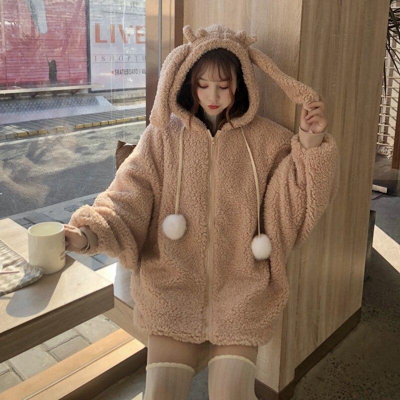 Lolita Sweet encapuchado niñas abrigo mujer invierno cálido manga de murciélago con capucha chaqueta traje kawaii con conejito sudaderas con capucha con orejas de piel