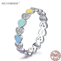 silverhoo authentic 925 sterling silver rainbow colorful hearts enamel cz finger ring for women wedding engagement jewelry