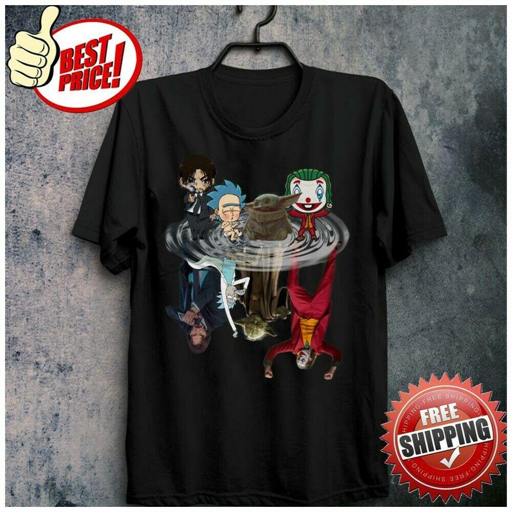 Freeship Baby Yoda John Wick Rick Sanchez Joker Water Mirror Reflection T-Shirt