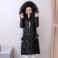 real fur coat women winter female sheepskin jackets high quality thicken warm big fox collar overcoat plus size 3xl