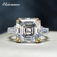 100 solid 925 sterling silver asscher cut citrine aquamarine simulated moissanite rings for women wedding bands drop shipping