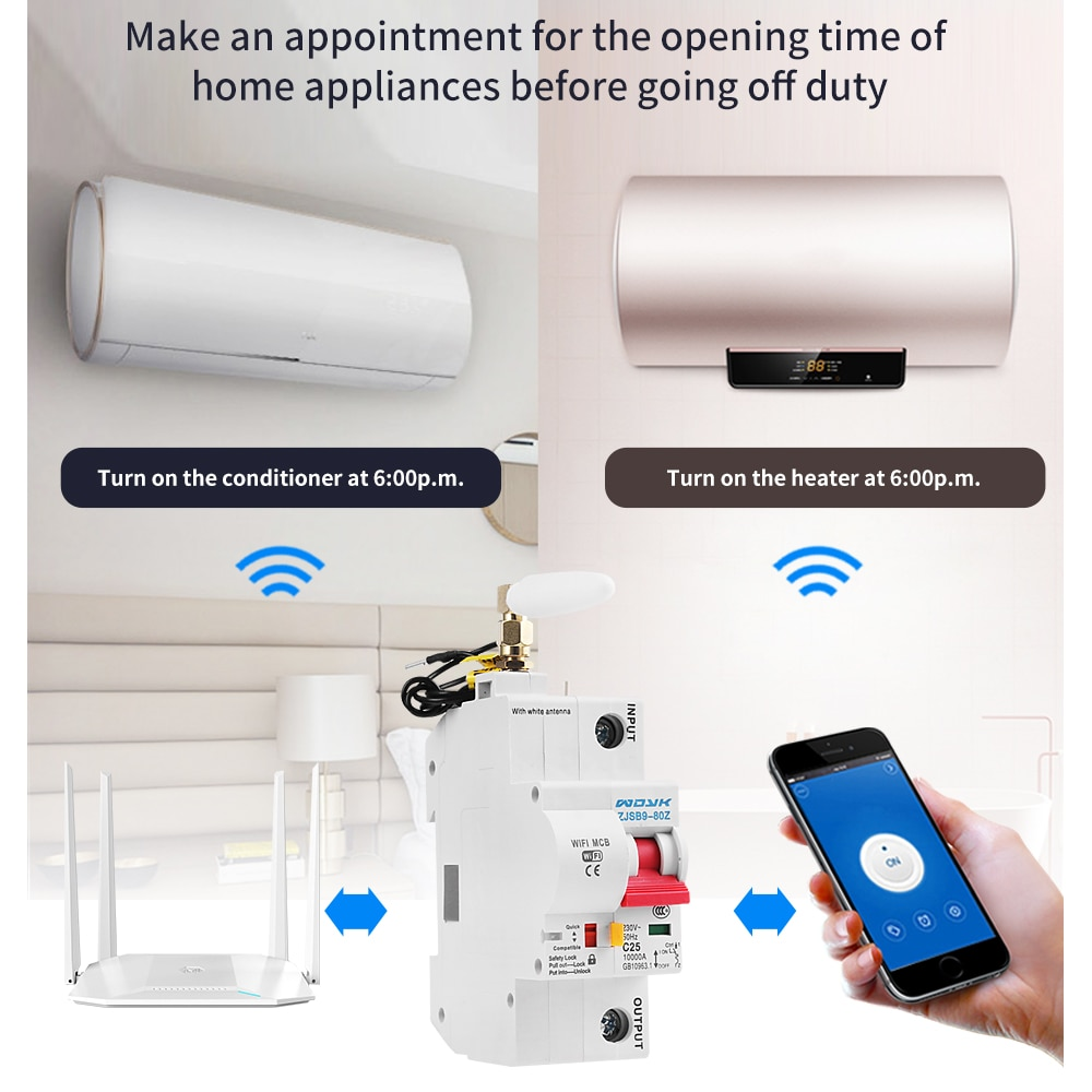 cenb1 125 type 1000v solar circuit breaker mini dc circuit breaker mcb with overload short circuit protection 125a 100a 80a 63a eWelink app 1P WiFi Smart Circuit Breaker overload short circuit protection with  Alexa google home for Smart Home