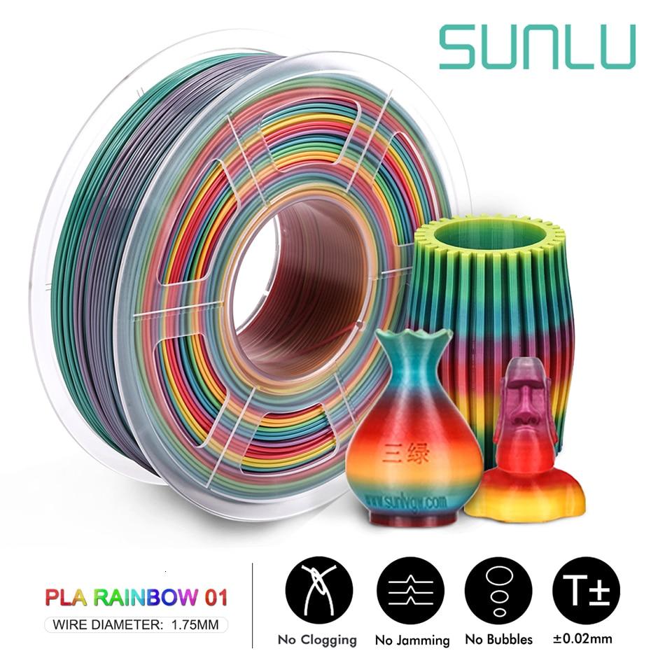 SUNLU Arco Iris PLA filamento 1,75 MM 1KG 3D Material de impresora precisión Dimensional +/-0,02mm con consumibles de carrete
