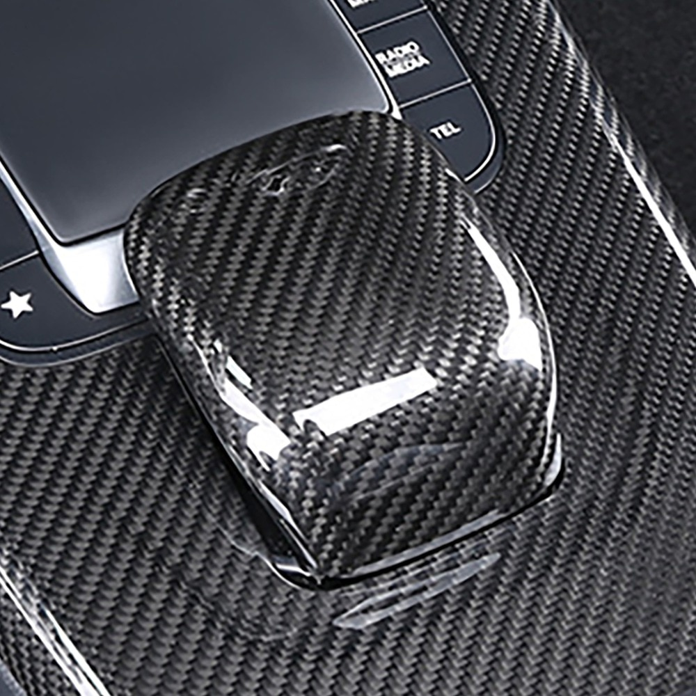 Real Carbon Fiber Car Gear Knob Head Sticker Cover Trim For Mercedes Benz CLA Class CLA200 260 A180 AMG 2020 enlarge