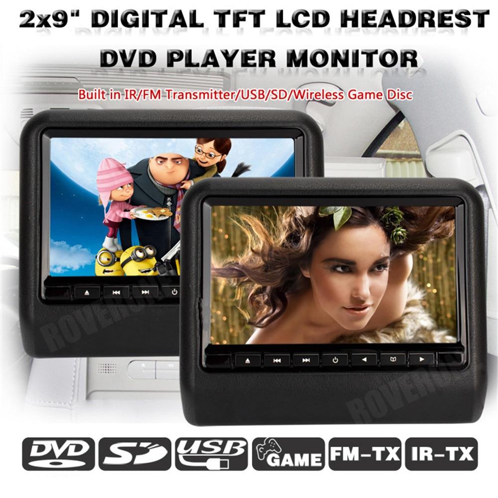 2 uds X 9 DVD reposacabezas Universal para coche Monitor TV Auto AV Monitor MP5 reposacabezas TFT LCD RCA pantalla y dos auriculares gratis