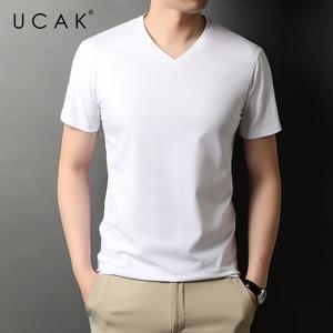 UCAK Brand Classic Solid Color V-Neck Cotton T Shirt Men Clothes Summer NEW Arrivals Streetwear Casual Tshirt Male Homme U5453