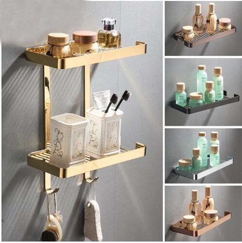 Ouro prateleira do banheiro chuveiro shampoo sabão prateleiras cosméticos latão chuveiro rack quadrado preto organizador de armazenamento do banheiro rack titular