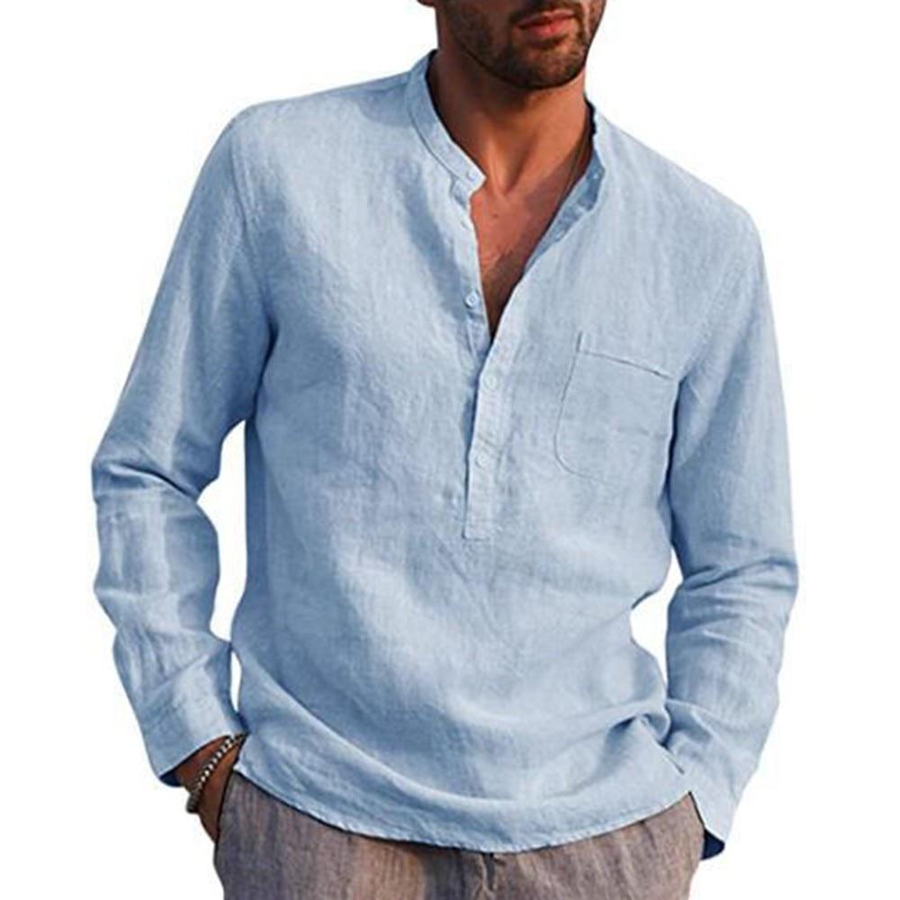 New Men's Linen V Neck T Shirts Male Solid Color Long Sleeves Casual Cotton Linen T-shirt Tops Casual Slim Mandarin Collar Shirt black spell color round neck long sleeves t shirt