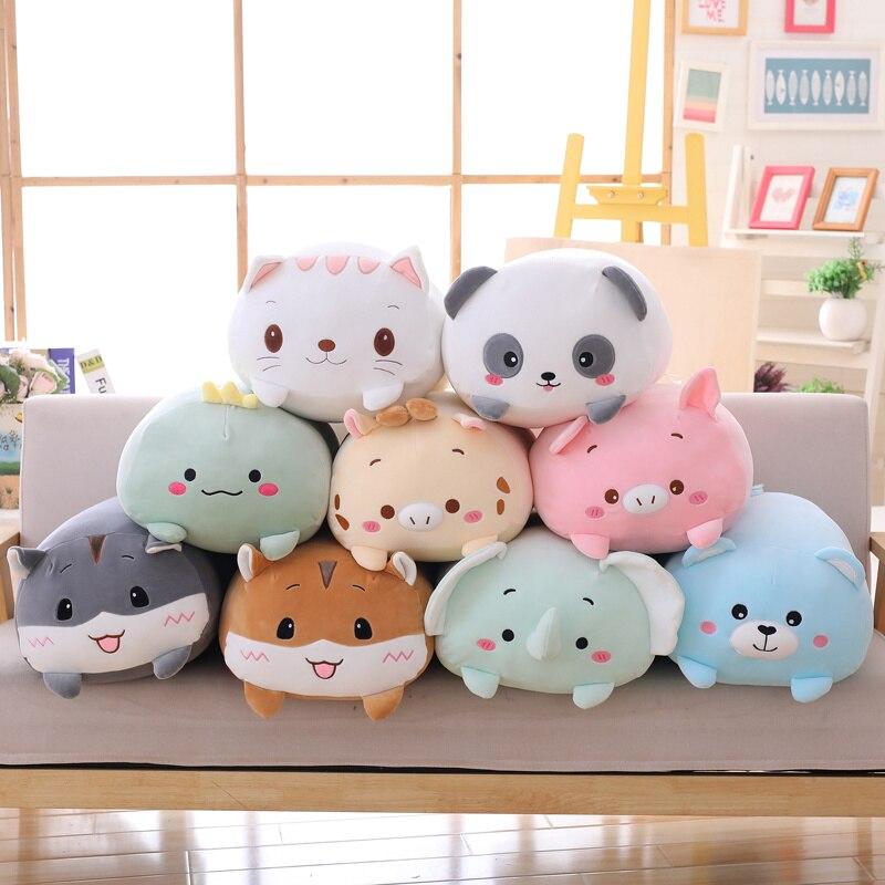 9 estilos Animal gordo dinosaurio cerdo gato oso de peluche de juguete suave de dibujos animados Panda hámster elefante ciervo peluche muñeca bebé niña almohada regalo