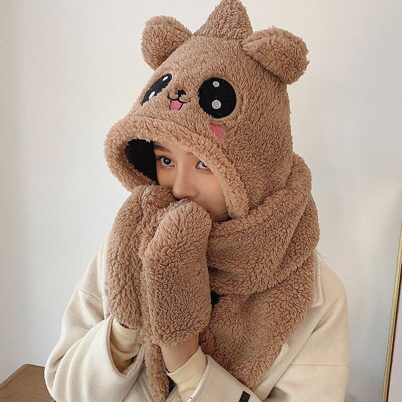 Женская зимняя шапка, шарф, милая кашемировая утолщенная теплая зимняя шапка для велоспорта с защитой шеи, шарф, шапка, перчатки