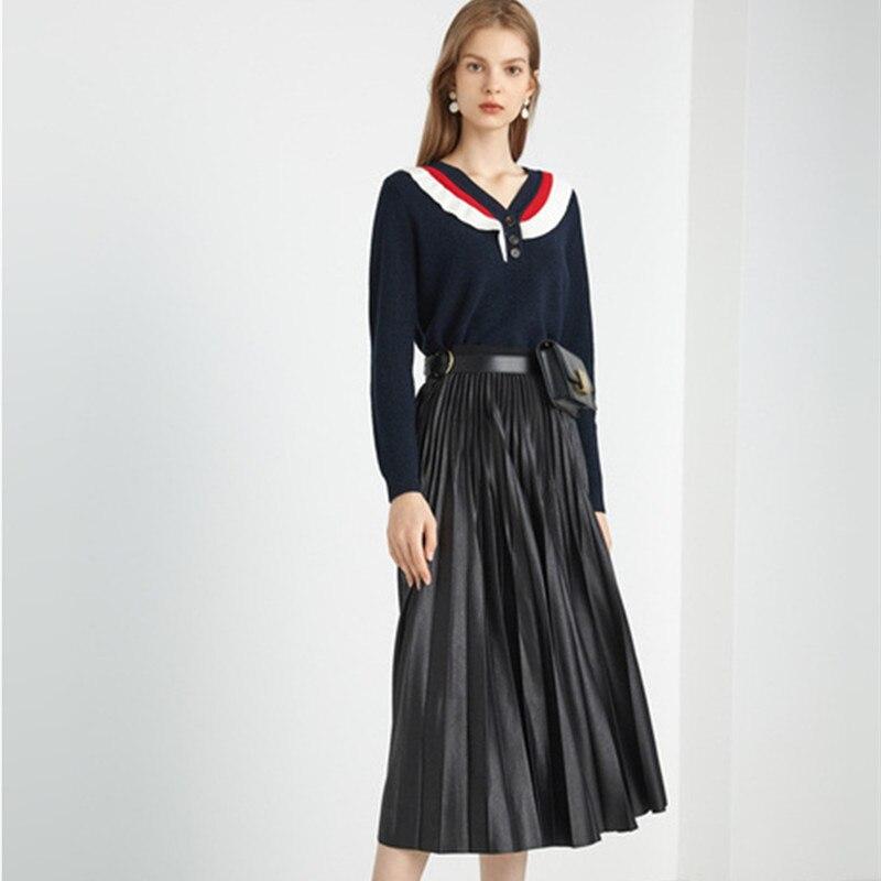 Otoño 2020 mujeres lindo fruncido Flare manga larga Delgado suéter tejido negro suéter Dropshipping