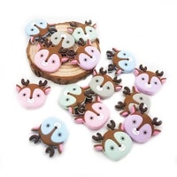 chenkai 50pcs bpa free silicone deer head bead baby teething nacklace beads for baby chewable dummy cartoon pacifier accessories