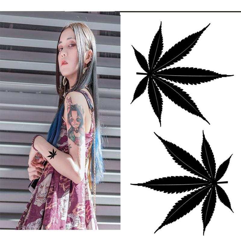 Водная переводная татуировка черный клевер кленовый лист листья тату боди-арт водонепроницаемые временные фальшивые татуировки для взрос...