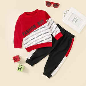 2-piece Baby / Toddler Letter Colorblock Long-sleeve Pullover and Pants Set