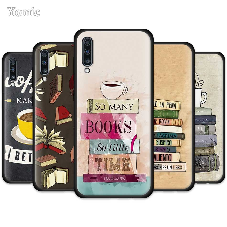 Books And Coffee Case for Samsung Galaxy A50 A51 A70 A71 A10 A20 E A30 S A40 A80 A Quantum Soft Black Silicone Phone Cover Shell