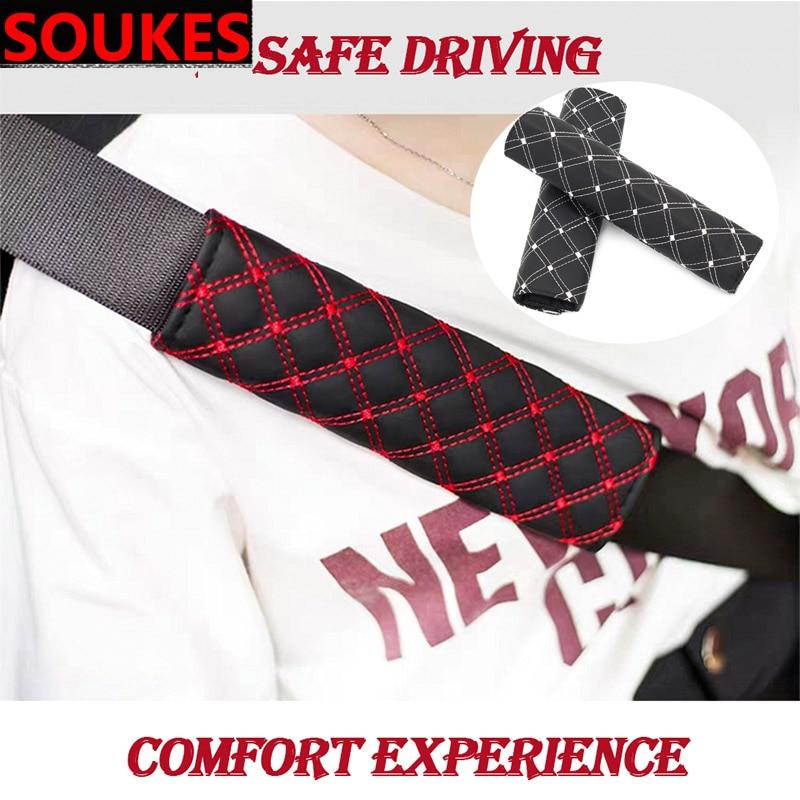 2 piezas de cuero para asiento de coche cinturón de seguridad para cochecito mochila correas fundas de hombro para Solaris Hyundai Tucson 2016 I30 IX35 i20 acento Santa Fe Elantra Coupe Santafe nulo Citroen C4 C5 C3 C2