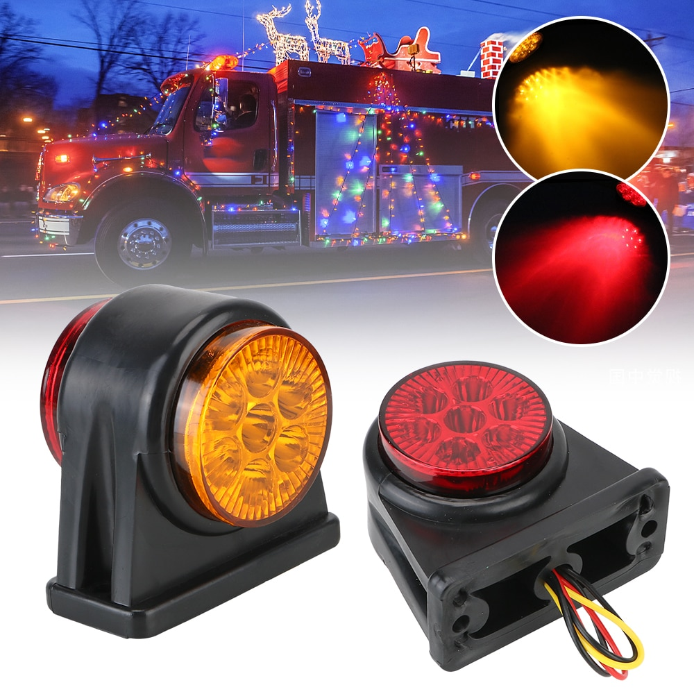 Turn Signal Clearance Light Yellow Red 14 LED Side Marker For Truck Lorry Trailer Lamp Indicator