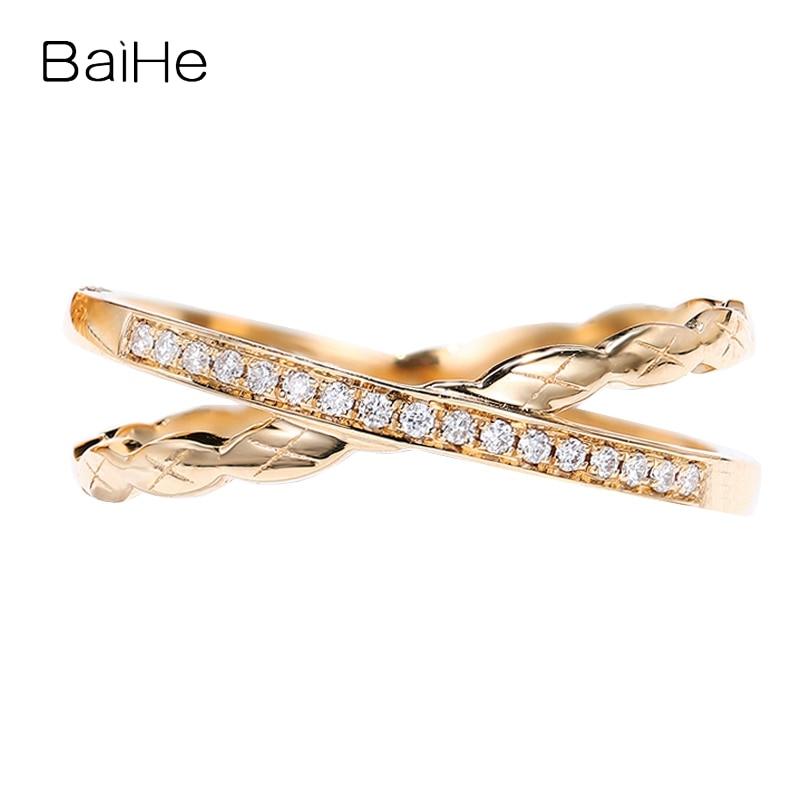 BAIHE الصلبة 14K ارتفع الذهب H/SI خاتم الماس الطبيعي خاتم الزواج المرأة رجل العصرية غرامة مجوهرات خاتم кавленка отиwearнку أنيو هدية