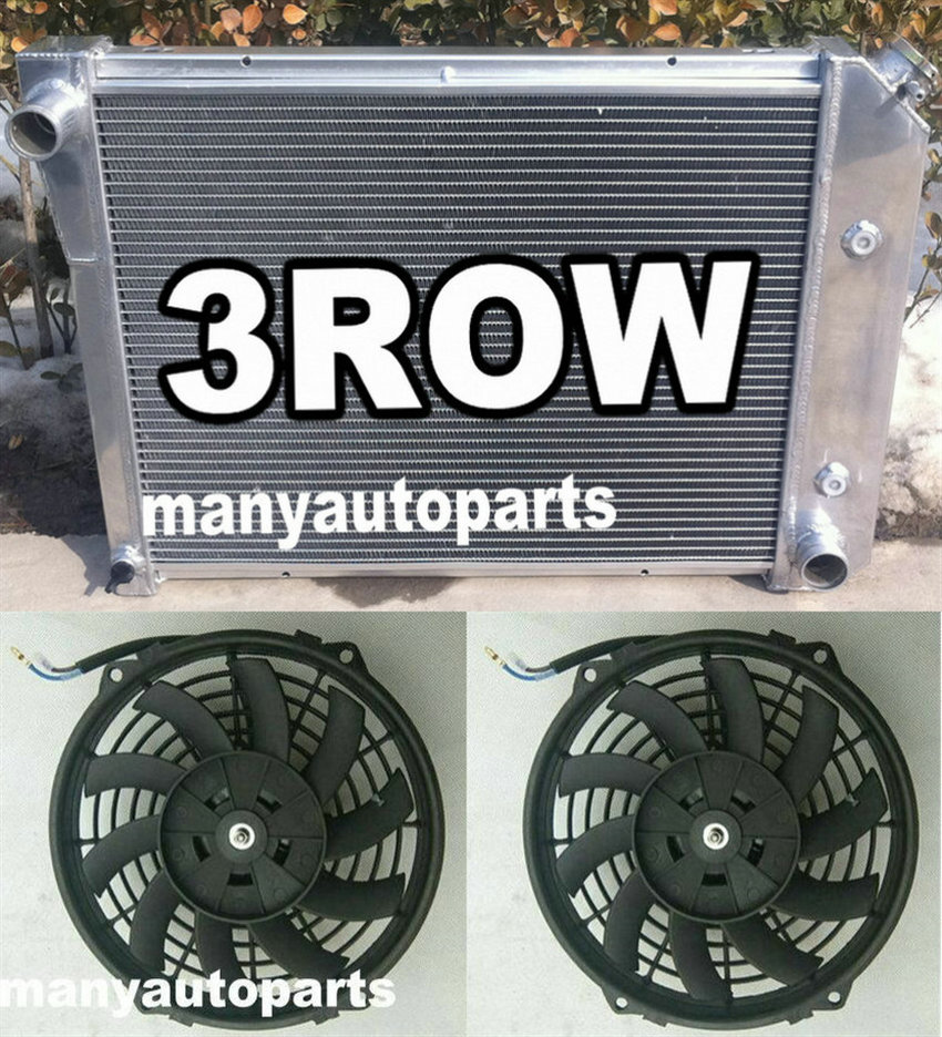Radiador y ventiladores de aluminio de 3 filas para Chevy Nova PRO 1968-1974/bloque pequeño 72-79