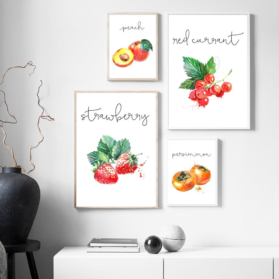 Melancia uva ameixa pêssego frutas cozinha arte da parede da lona pintura nordic posters e cópias fotos parede para sala de estar decoração