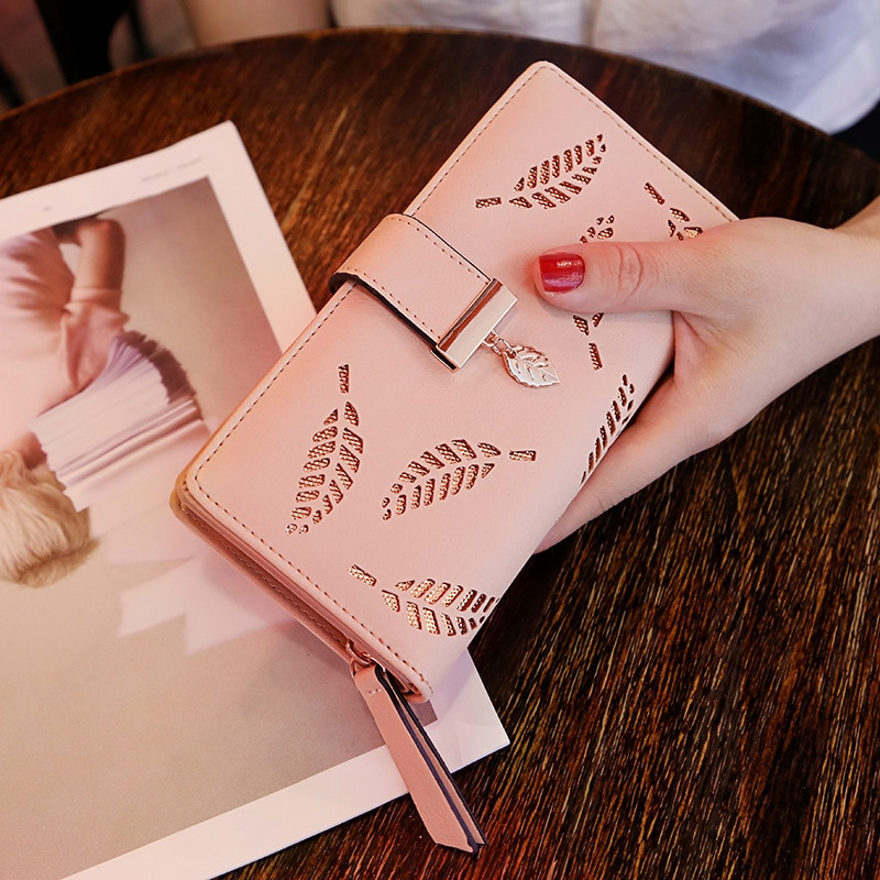 2021 Women Wallet PU Leather Purse Female Long Wallet Gold Hollow Leaves Pouch Handbag For Women Coi