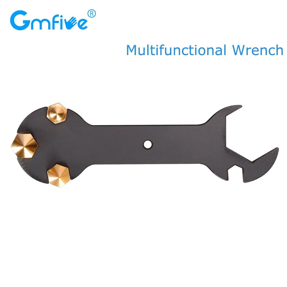 Gmfive peças de impressora 3d bocal chave 5 em 1 chave de fenda bocal chave de aço multifunções ferramenta de bocal para 3d mk8 mk10